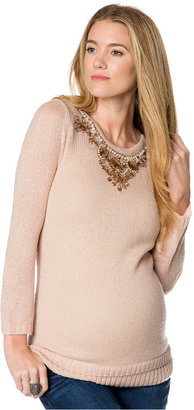 Design History Maternity Beaded Keyhole Sweater $128 thestylecure.com