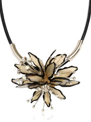Marni Horn And Leather Flower Necklace