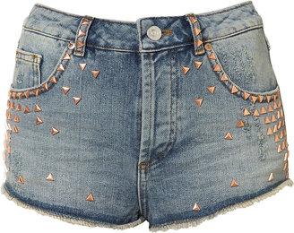 Topshop Petite Studded Denim Hotpants