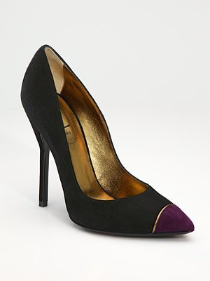 Yves Saint Laurent Cap-Toe Suede Pumps