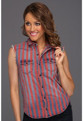 Joe's Jeans Stripe Denim Shirt (Red/Navy) - Apparel