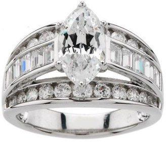 Diamonique 100-Facet 3.50 cttw Ring, Platinum Clad
