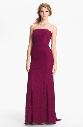 Adrianna Papell Strapless Lace Gown