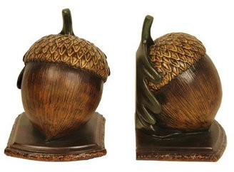 575 Denim Sterling Home Pair of Muir Woods Acorn Bookends, Tall