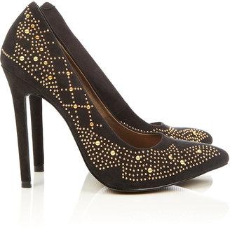 Wallis Black Studded Court Shoe