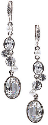 Givenchy Glass Pearl and Crystal Stone Linear Drop Earrings