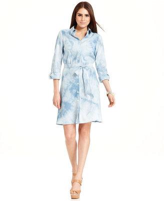 Amy Byer Dress, Long-Sleeve Tie-Dye Belted Shirtdress