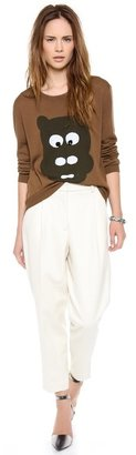 Markus Lupfer Hippo Head Sequin Intarsia Sweater