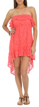 Wet Seal WetSeal Ruffle High-Low Lace Dress Marshmallow