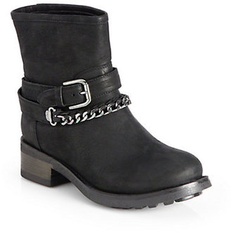 Pollini Leather Chain-Trimmed Moto Boots