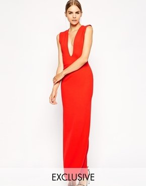 Asos Solace London Aretha Maxi Dress With Plunge Neck and Back
