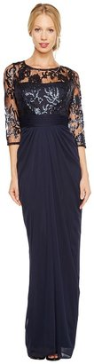 Adrianna Papell - Embroidered Sequin Bodice Drape Gown Women's Dress $220 thestylecure.com