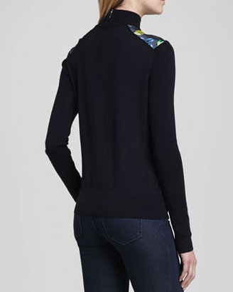 Tory Burch Wren Sweater with Front Scarab Panel
