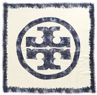 Tory Burch 'Painted Hash Print' Square Silk & Wool Scarf