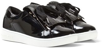 Michael Kors Black Patent Fringed Lace-Up Trainers