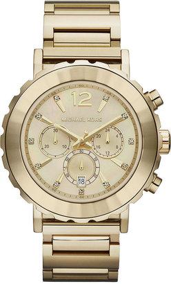 Michael Kors Watch, Women's Chronograph Lille Gold-Tone Stainless Steel Bracelet 45mm MK5789