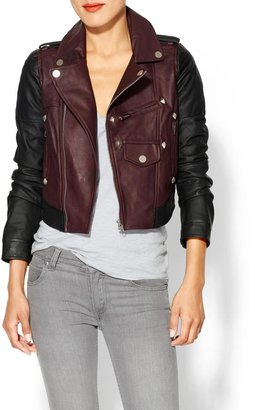 Miss Me Two Toned Vegan Leather Jacket