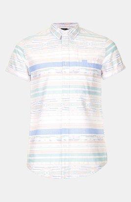 Topman Aztec Print Shirt Off White Large