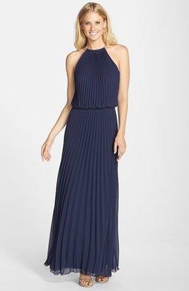 Xscape Evenings Pleat Cutaway Blouson Dress