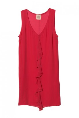 Attic And Barn Ruffle Front Dress In Coral