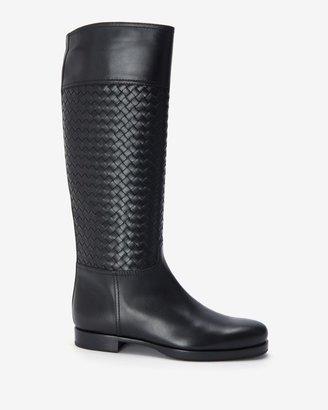 Bottega Veneta Intrecciato Leather Flat Boot: Black