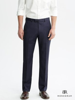 Banana Republic BR Monogram Navy Pinstripe Italian Wool Suit Trouser
