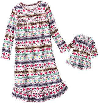 Jumping beans ® fairisle nightgown & doll gown set - girls 4-7