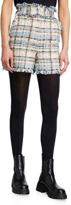 MSGM High-Rise Tweed Bermuda Shorts