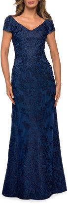 La Femme Cap-Sleeve Lace Column Gown