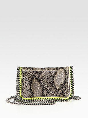 Stella McCartney Falabella Python-Print Crossbody Chain Clutch