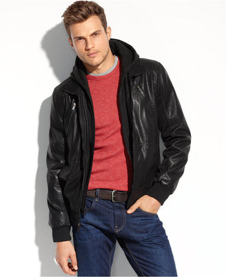 GUESS Coats, Faux Leather Hooded Bomber