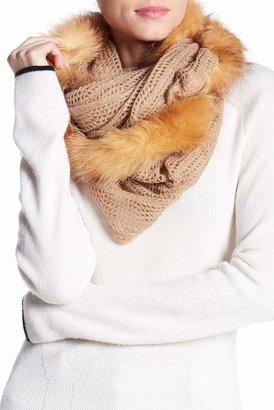 Surell Pointelle Knit Genuine Fox Fur Trim Infinity Scarf