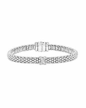 Lagos Silver Caviar Diamond X Bracelet with 18k Gold, 6mm $495 thestylecure.com