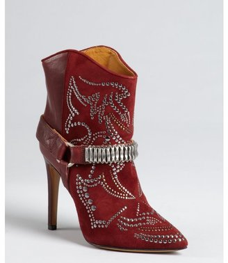 Isabel Marant bordeaux leather and suede studded 'Milwauke' ankle boots