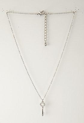 Forever 21 Rhinestoned Key Necklace
