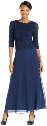 Alex Evenings Elbow-Sleeve Sequined Lace Gown $169 thestylecure.com