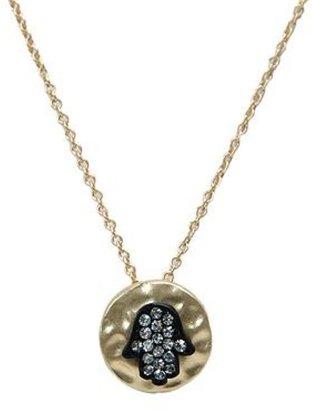Tryst Style Rhinestone Hamsa Disc Necklace