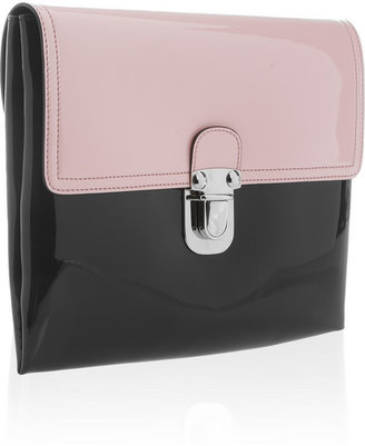 Marni Two-tone faux patent-leather clutch