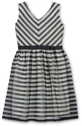 Speechless Striped Mesh Lace Dress - Girls 6-16 and Plus