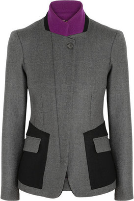 Etro Leather-trimmed wool-blend jacket