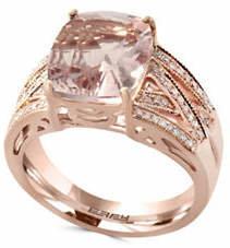 Effy 14K Rose Gold 0.25TCW Diamond Morganite Ring
