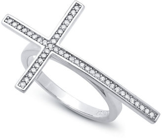 Crislu Ring, Platinum Over Sterling Silver Pave Cubic Zirconia Sideways Cross Ring (1/4 ct. t.w.)