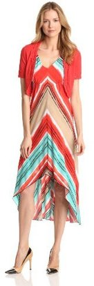Amy Byer Women's Two Piece Maxi Dress With Crochet Sweater