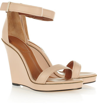 Givenchy Zip-detailed leather wedge sandals