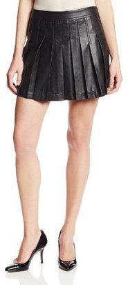 BCBGMAXAZRIA Women's Shane Pleated Faux Leather Flared Skirt