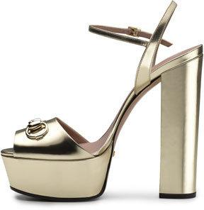 Gucci Claudie Metallic Platform Sandal, Gold