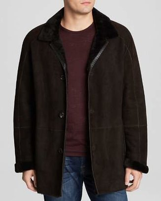 Maximilian Furs Maximilian Dyed Lamb Shearling Coat with Leather Trim