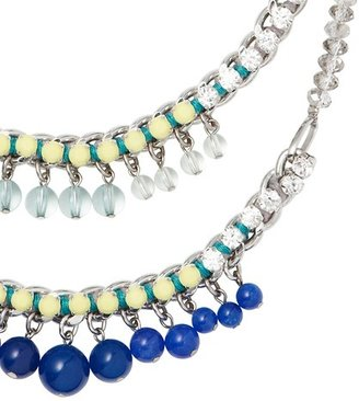 LOFT Short Blue and Yellow Stone Tiered Necklace