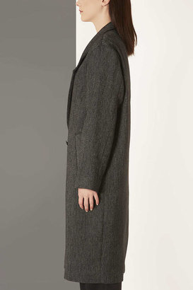 Topshop Charcoal Tweed Long Mac By Boutique