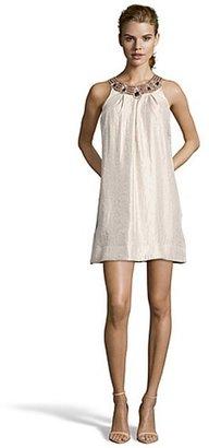 Hayden champagne woven beaded collar babydoll dress